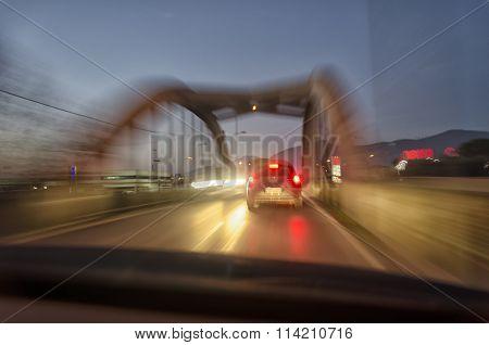 View Of A Car That Crosses A Bridge