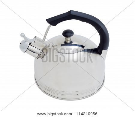 Stainless Steel Kettle On A Light Background