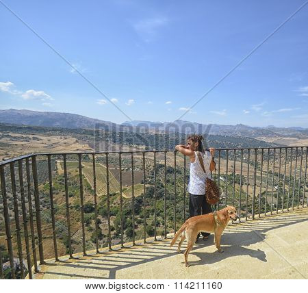 Woman And Her Dog At Ronda