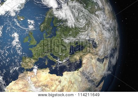 An image of an Earth view from space. 3D Graphic with detailed NASA images for the earth.