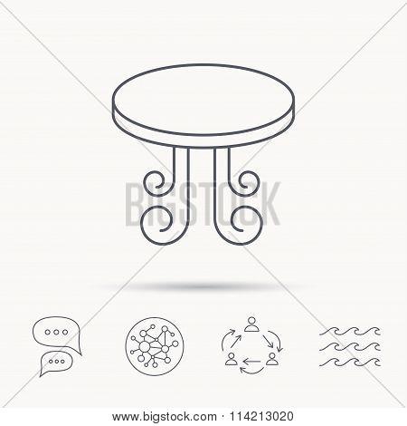 Vintage table icon. Furniture desk sign.