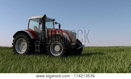 tractor in green grass field