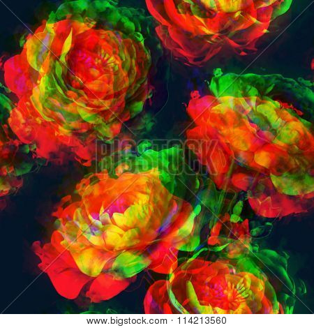 art vintage floral seamless pattern  with golden, red, orange and green peonies on blue black background. Double Exposure effect