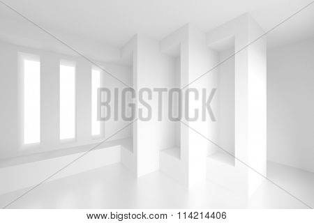 White Empty Room. 3d Architecture Background