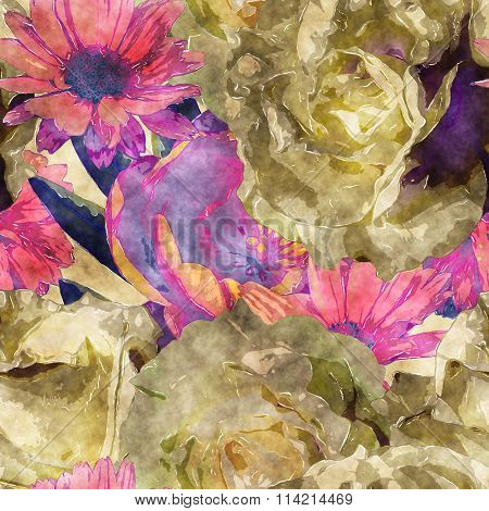 art vintage watercolor floral seamless pattern with white, gold yellow and red roses, peony and asters on light golden background