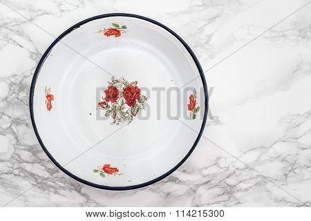 Empty White Vintage Enamel Plate With Flower Design