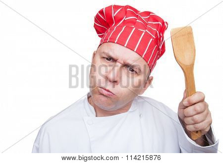 Angry chef with red hat isolated on white background