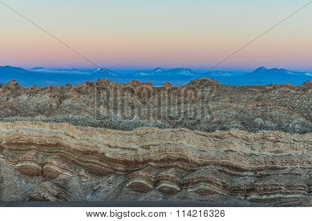 Sunset In The Moon Valley In The Atacama Desert, Chile