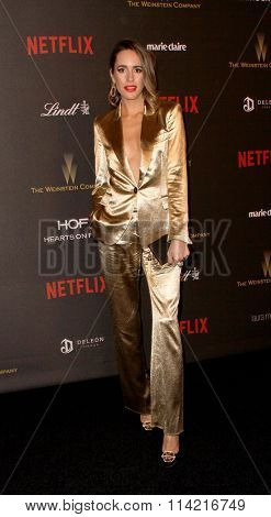 BEVERLY HILLS, CA - JAN. 10: Louise Roe arrives at the Weinstein Company and Netflix 2016 Golden Globes After Party on Sunday, January 10, 2016 at the Beverly Hilton Hotel in Beverly Hills, CA.