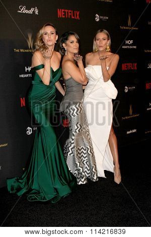 BEVERLY HILLS, CA - JAN. 10: Keltie Knight, Rocsi Diaz & Renee Bargh arrive at the Weinstein Company & Netflix 2016 After Party, Sunday, January 10, 2016, Beverly Hilton Hotel in Beverly Hills, CA.