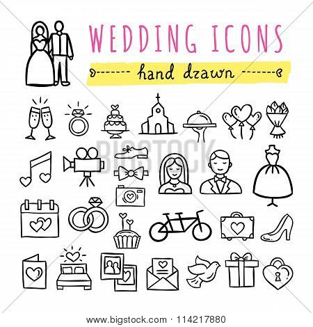 Hand drawn wedding icons: marriage, bride and groom, wedding couple, rings and other symbols. Vector