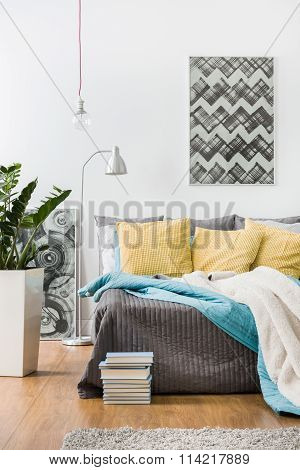 Yellow Cushions And Gray Bedspread