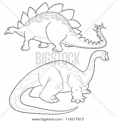 Stegosaurus-apatosaurus Lineart