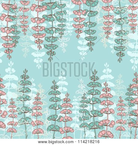 Seamless Patterns With Drawing Sprigs Of Flowers
