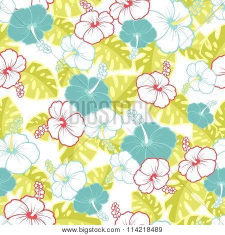 Hawaiian Seamless  Pattern With Hibiscus Flowers