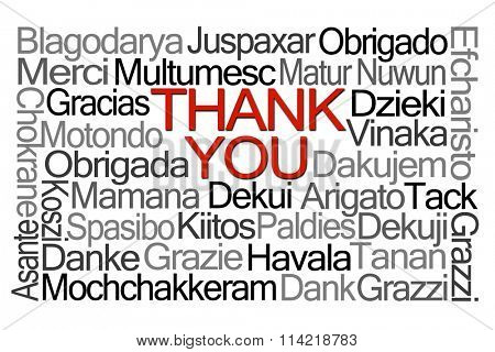 Thank You Word Cloud in Different Languages on White Background
