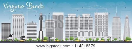 Virginia Beach (Virginia) Skyline with Gray Buildings and Blue Sky. Vector Illustration. Business Travel and Tourism Concept with Modern Buildings. Image for Presentation, Banner, Placard and Web Site