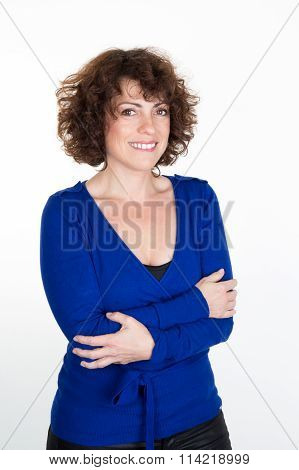 One Happy Smiling Caucasian Business Woman Portrait Arms Crossed In Studio