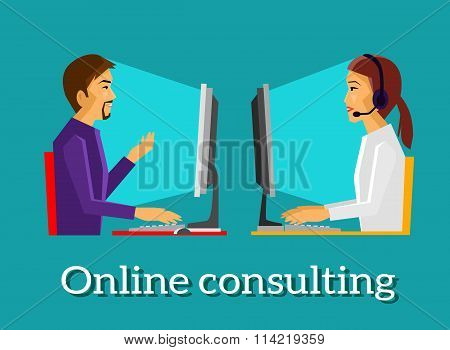 Online Consulting Design Flat Concept