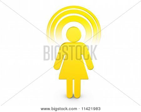 Yellow Spiritual Girl With Visible Color Aura