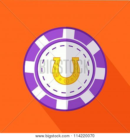 Chip Horseshoe Flat Design on Background