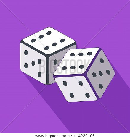 Dice Flat Design on Background