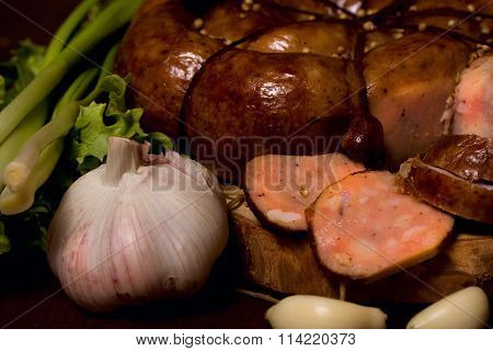 Rustic Still Life With Sausage