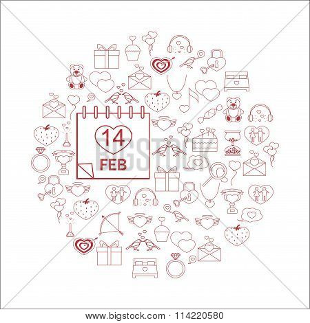 Vector illustration with different Valentines Day elements.Vector line icons. idea illustration for