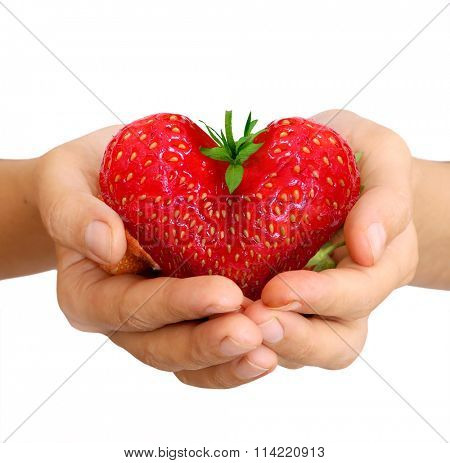 strawberry in shape of a heart