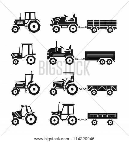 Tractors icons vector set
