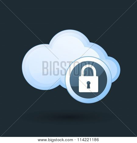Safe cloud computing - cloud and padlock icon