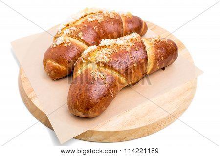 Delicious croissants with crunchy sugar.