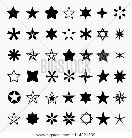 Vector Set Of Icons Of Stars