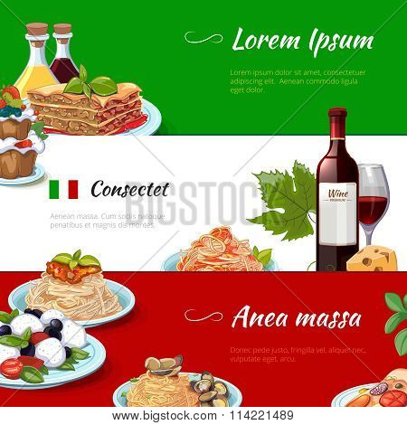 Italian food horizontal banners vector set