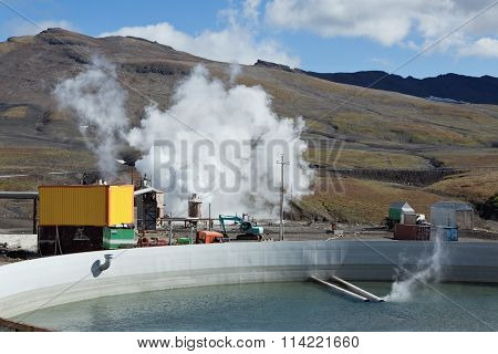 Pool To Collect Waste Thermal Water On Mutnovskaya Geothermal Power Station