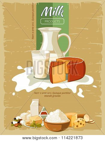 Milk products vintage vector poster
