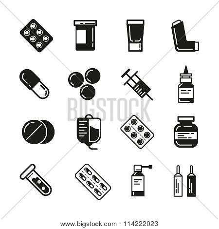 Drugs or medicine. Pills, capsules, mixture bottles black icons set