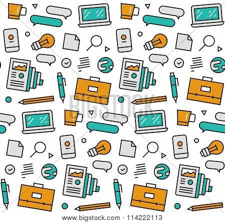 Business Elements Seamless Icons Pattern