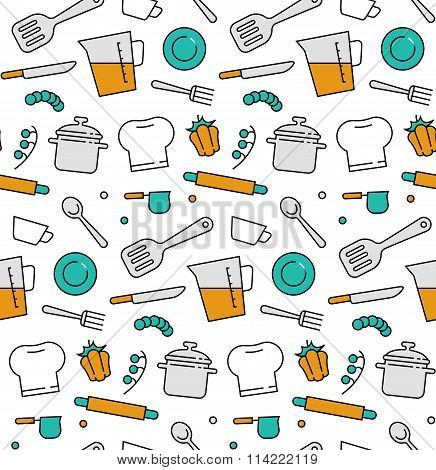 Cooking Elements Seamless Icons Pattern