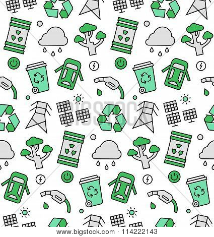 Ecology Elements Seamless Icons Pattern