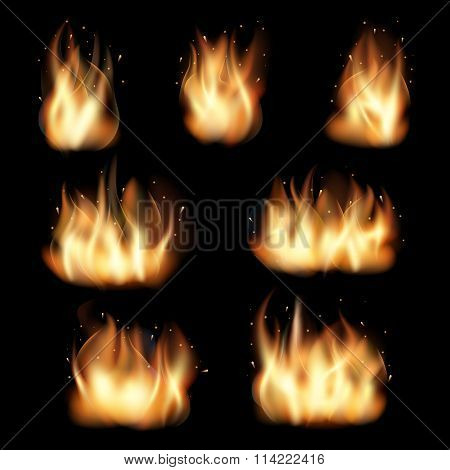 Fire flames vector set on black background