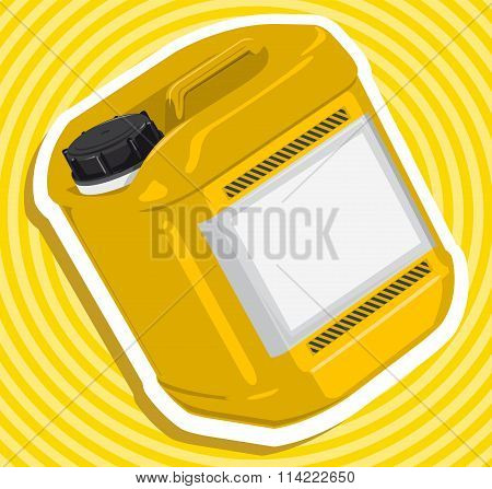 Nice yellow golden average plastic jerri can with outline border construction tools on yellow