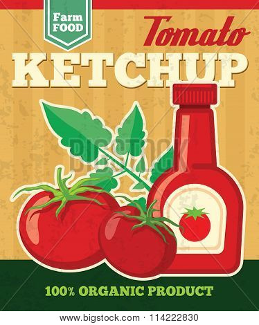 Tomato vector poster in vintage style