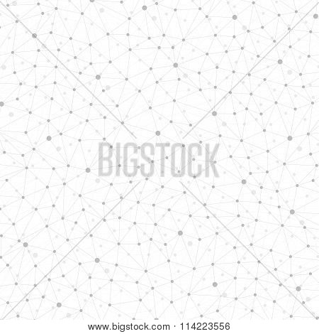 Geometric abstract background with connected line and dots for your design.  Vector illustration