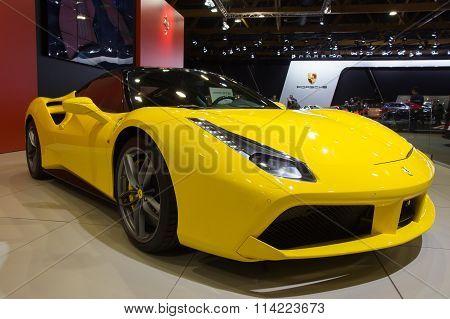 Yellow Ferrari 488Gtb Spider Sports Car
