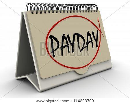 PAYDAY. Inscription on the calendar