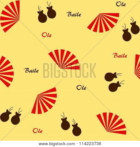 Seamless flamenco pattern with fans and castanets