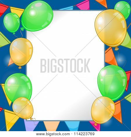 Dark Blue Festive Background With Balloons And Pennants