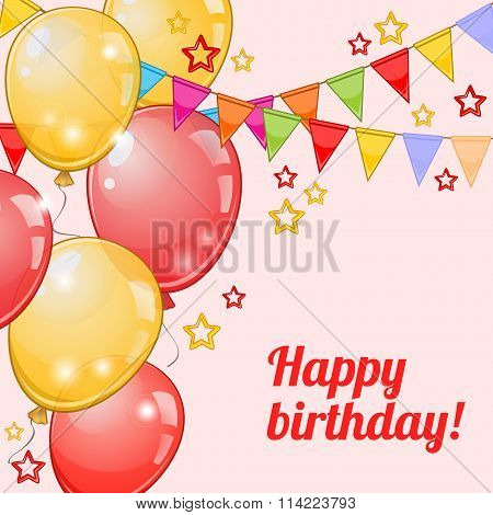 Birthday Card With Balloons And Pennants Over Pink