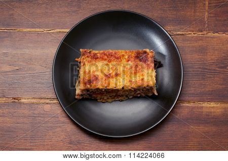 Piece Of Lasagna In The Center